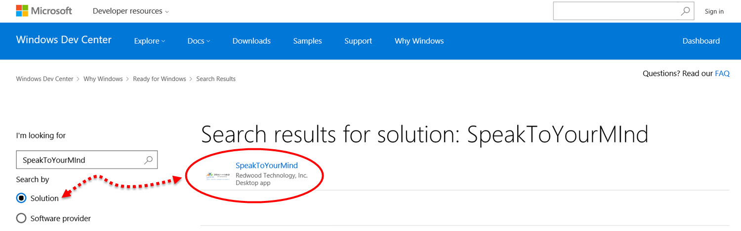 """Searching the Ready for Windows 10 Directory by software """"Solution"""""""