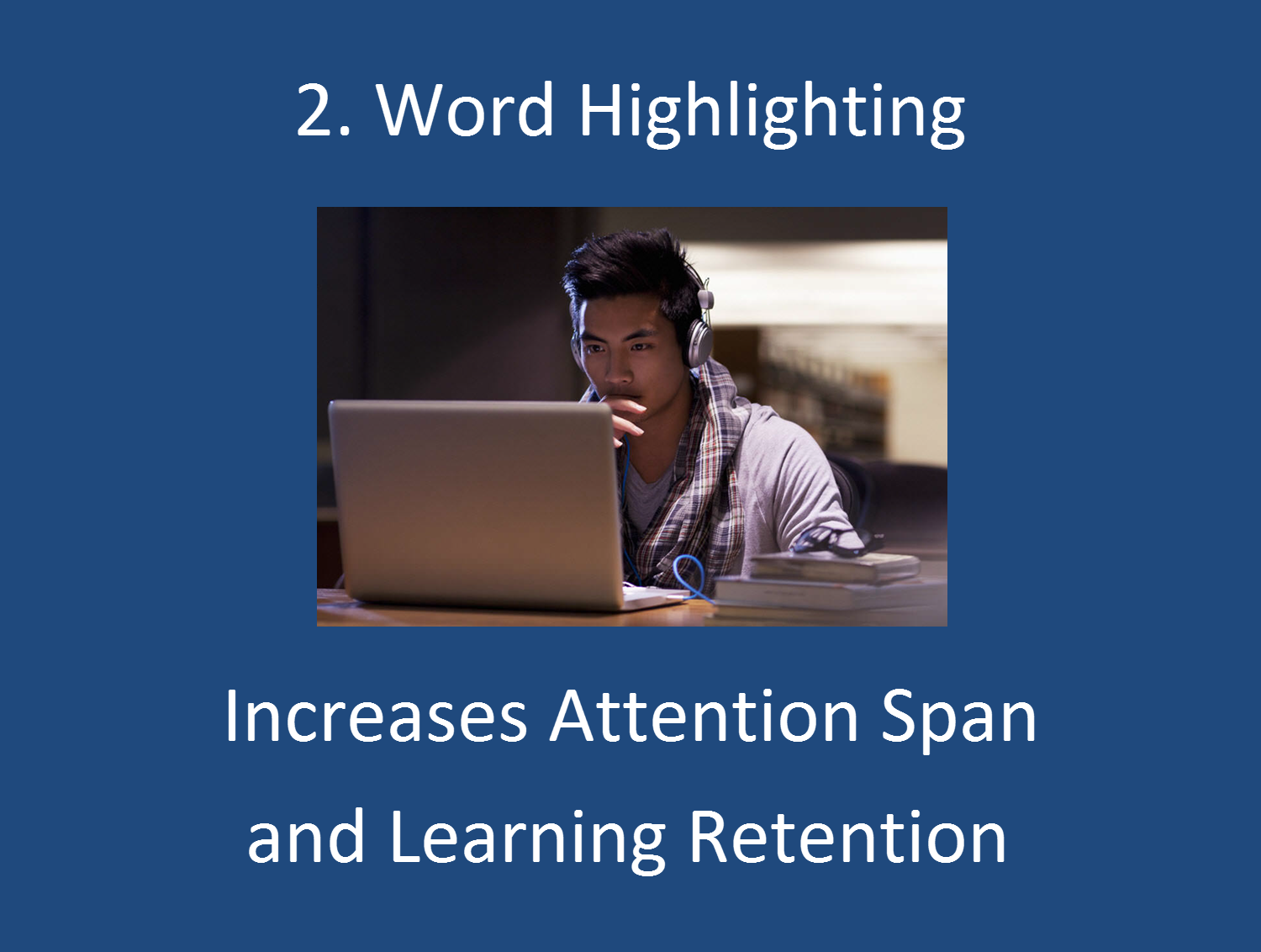 Highlighting the word as the flashcard is being spoken using text-to-speech increases your attention span and learning retention