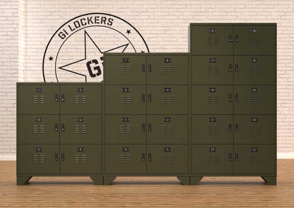 Office Lockers - Vintage - Army Green