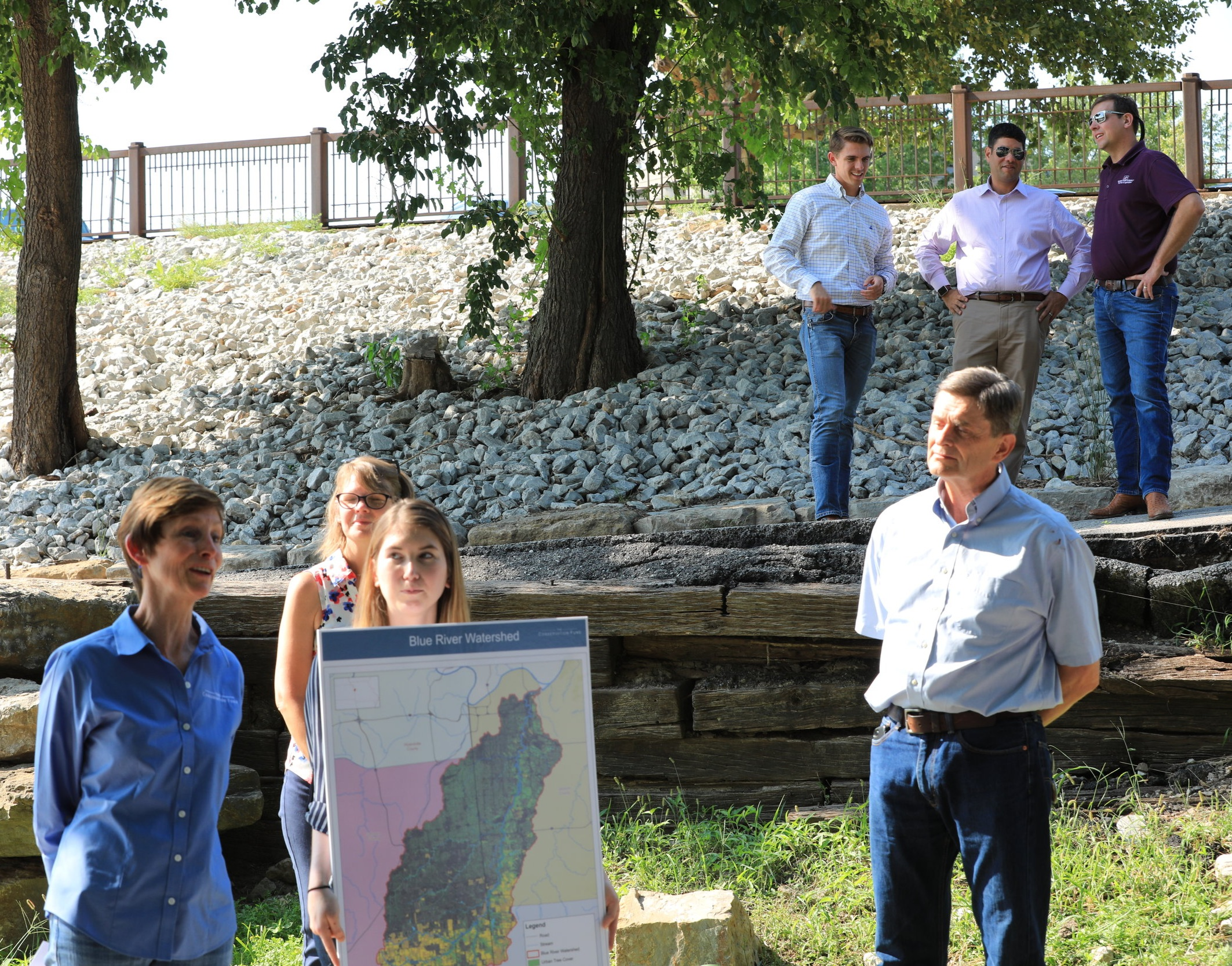 Ginny Moore and Jerry Jost presenting the Blue River Conservation Collaborative to Senator Moran and other state agencies during Moran's conservation tour in September.