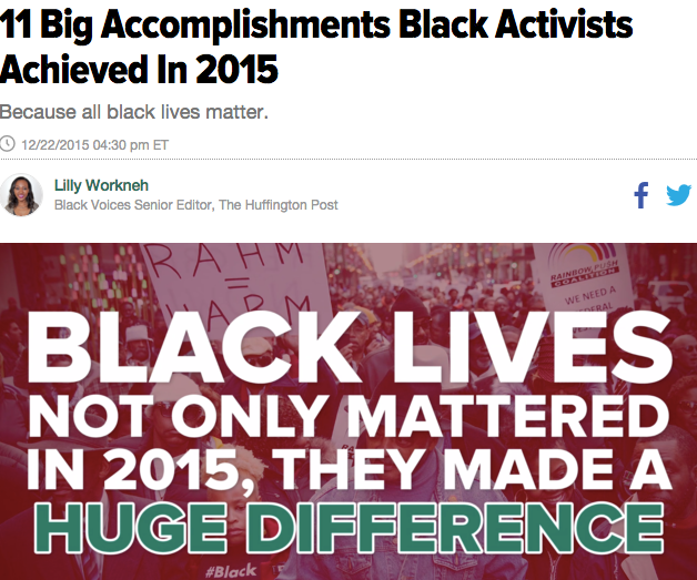 11 Big Accomplishments Black Activists Achieved in 2015, The Huffington Post, 12/22/15