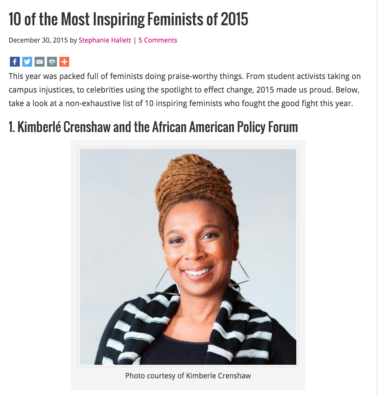 """""""10 of the Most Inspiring Feminists of 2015,"""" Ms. Magazine , Dec. 30, 2015"""