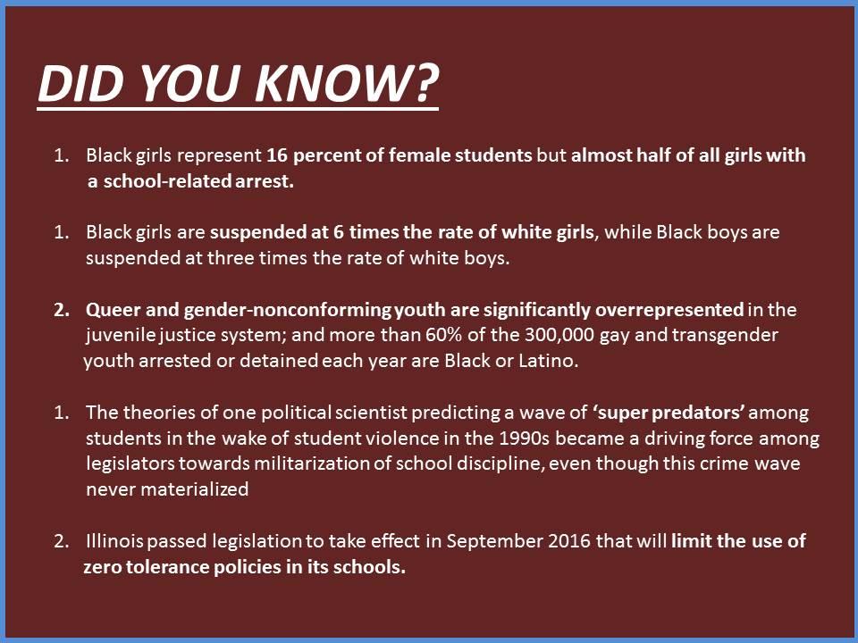 BlackGirlsMatter: Countering Criminalization in School