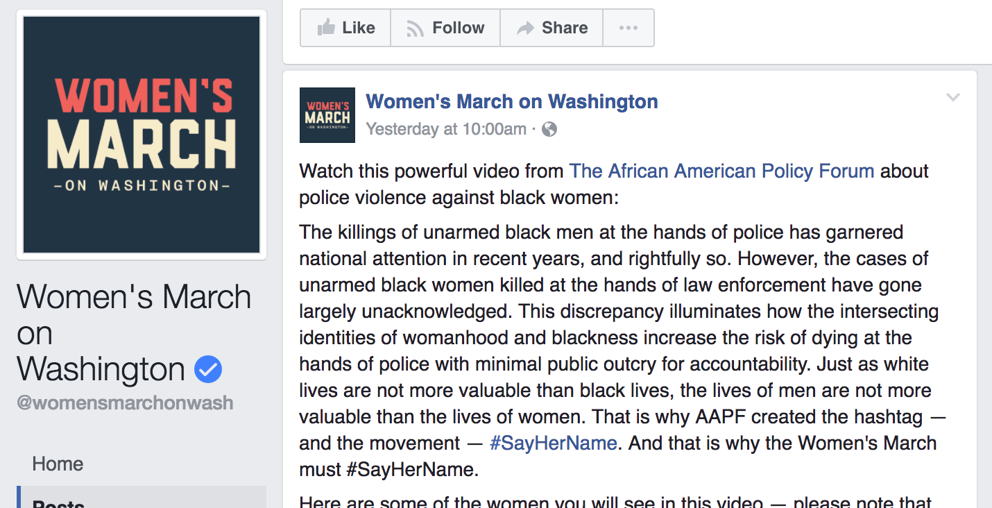Our #SayHerName video was featured on the Women's March page, and can also be viewable on Vimeo: https://vimeo.com/201874020