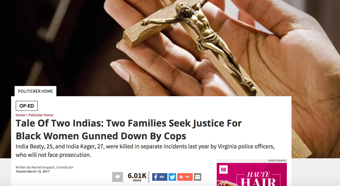 """""""TALE OF TWO INDIAS: TWO FAMILIES SEEK JUSTICE FOR BLACK WOMEN GUNNED DOWN BY COPS,"""" RACHEL ANSPACH, NEWSONE"""
