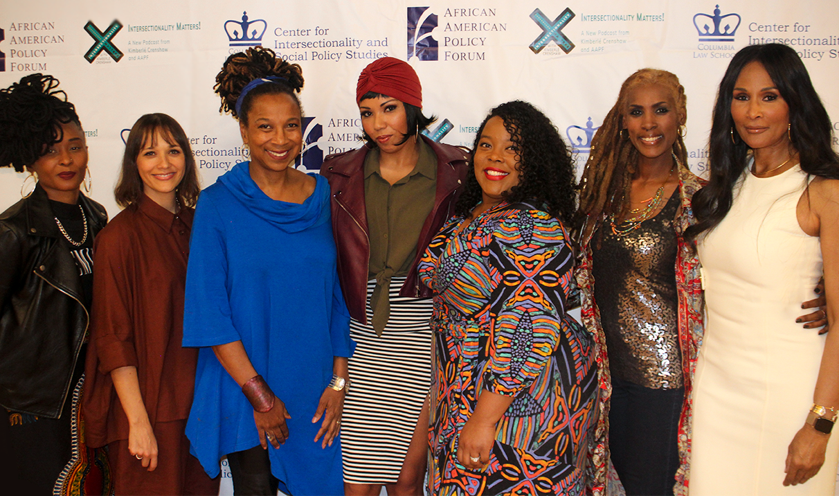 "(L to R) Dee Barnes, Rashida Jones, Kimberlé Crenshaw, Jamilah Lemieux, Stephanie Jones-Rogers, Kenyette Barnes, Beverly Johnson at the ""Black Women and the #MeToo Movement"" panel at the Hammer Museum, 3/26/19"