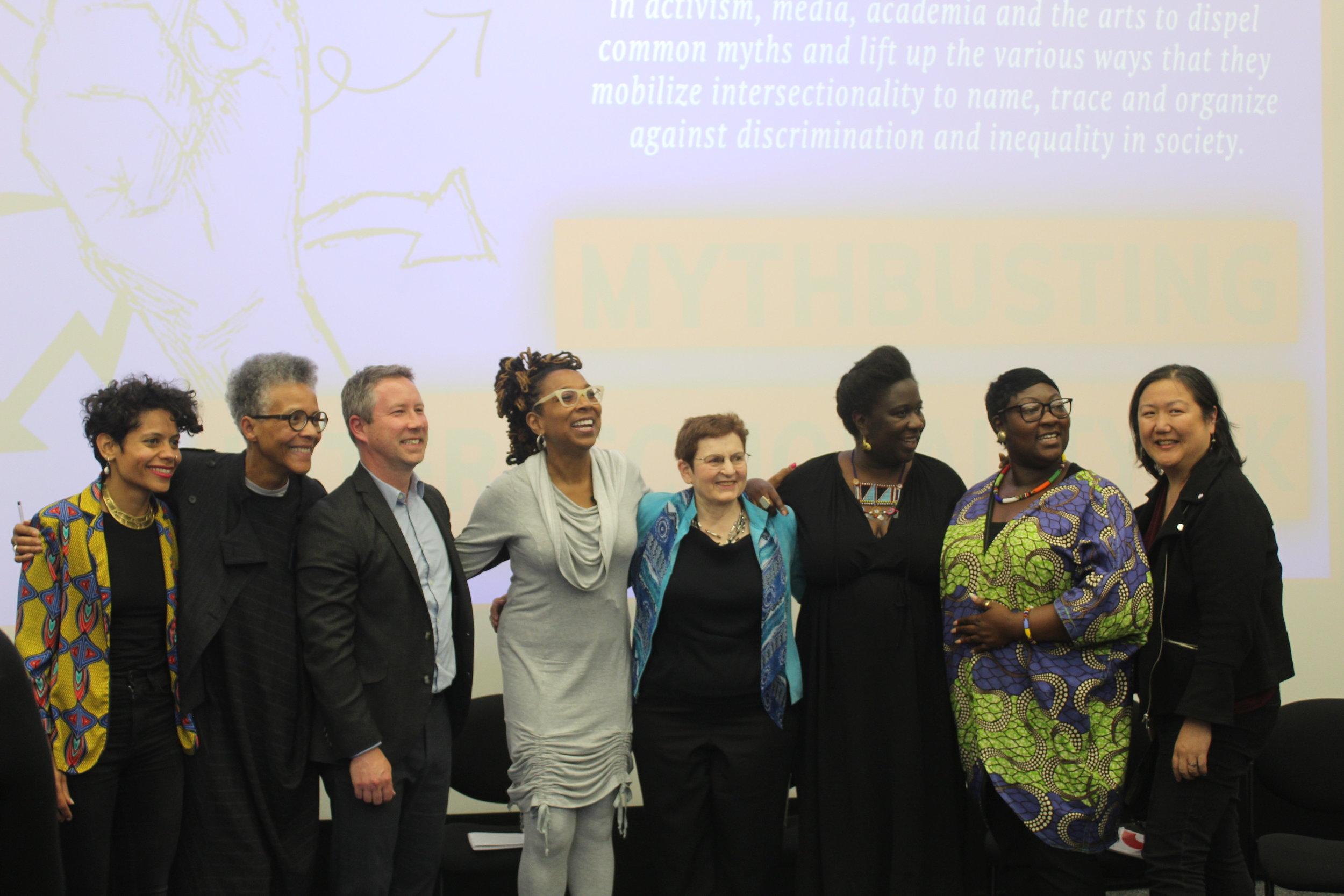 Emilia Roig, Gail Lewis, Daniel HoSang, Kimberlé Crenshaw, Barbara Tomlinson, Barby Asante, Phyll Opoku-Gyimah and Sumi Cho at  Mythbusting Intersectionality UK  held last week at the University of Westminster.