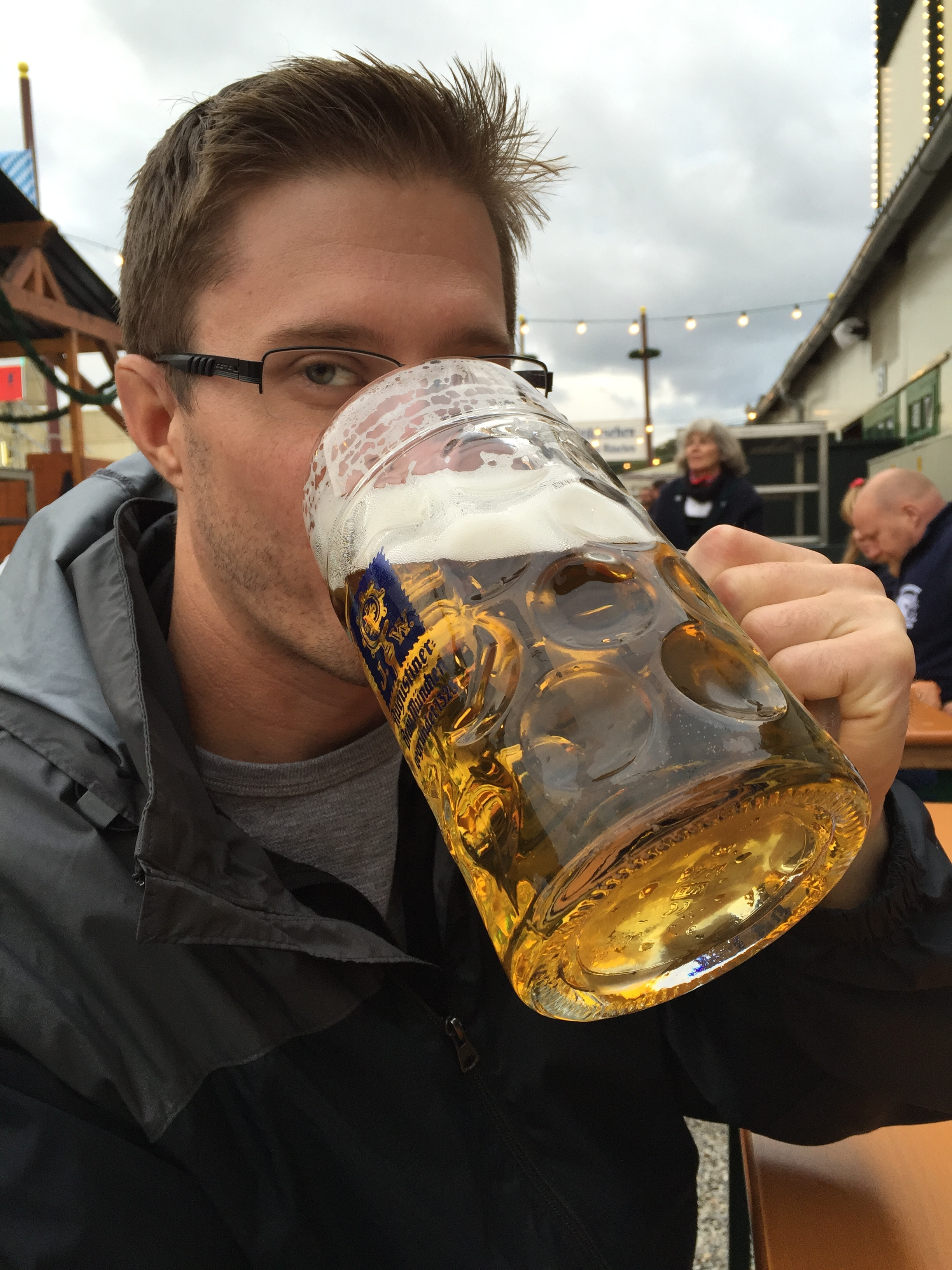 Here I am enjoying an Augustiner Oktoberfest at one of their biergartens.