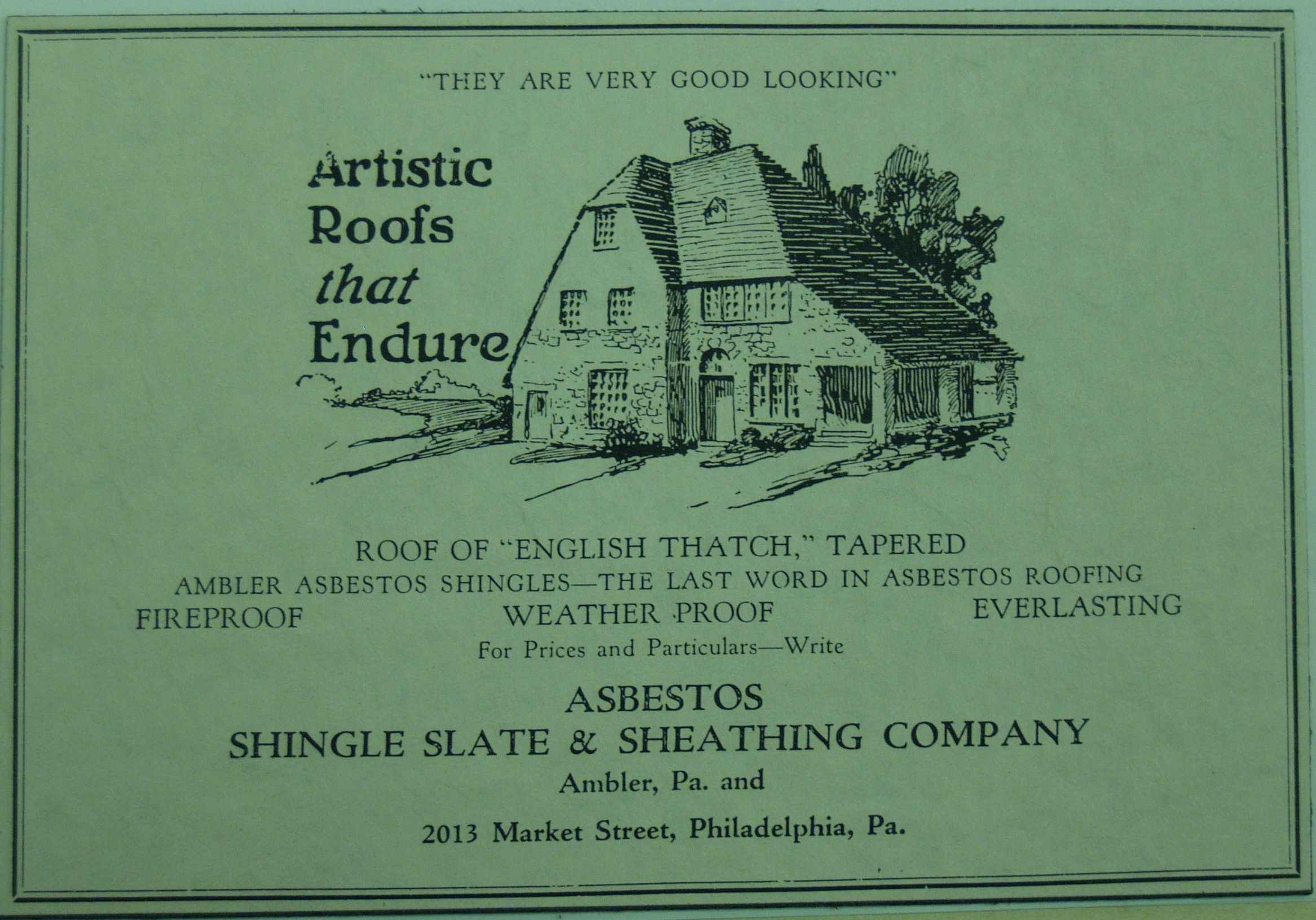 Keasbey and Mattison roof tile advertisement, date unknown.   Newton Howard Photograph Collection,Historical Society of Montgomery County.