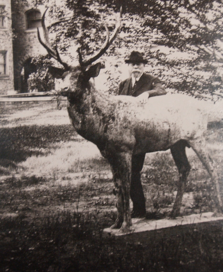 Richard Mattison with life-sized sculpture of deer outside Lindenwold, ca. 1920s.    Newton Howard Photograph Collection,Historical Society of Montgomery County.  Photo by John McIlroy.