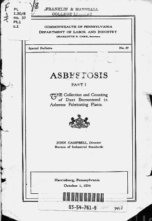 """""""The Collection and Counting of Dust Encountered in Asbestos Fabricating Plants,"""" 1934.  Commonwealth of Pennsylvania, Department of Labor and Industry. The State Library of Pennsylvania."""