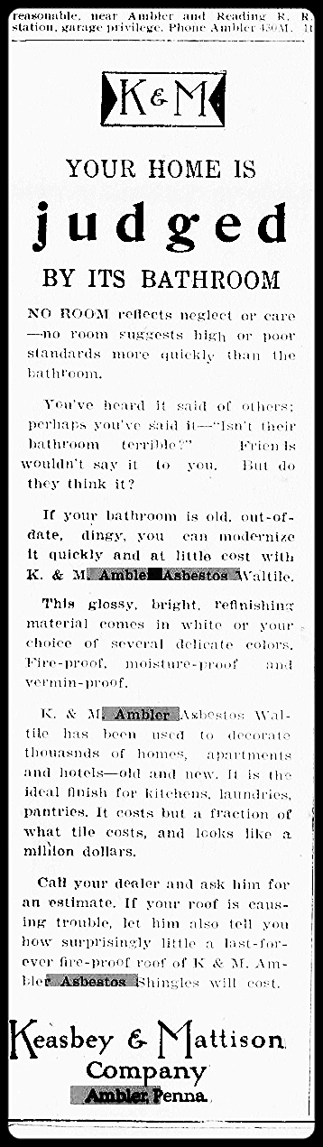 """""""Your Home Is Judged by Its Bathroom,"""" advertisement, 1934.    Ambler Gazette,    September 6, 1934. Historical Society of Montgomery County."""