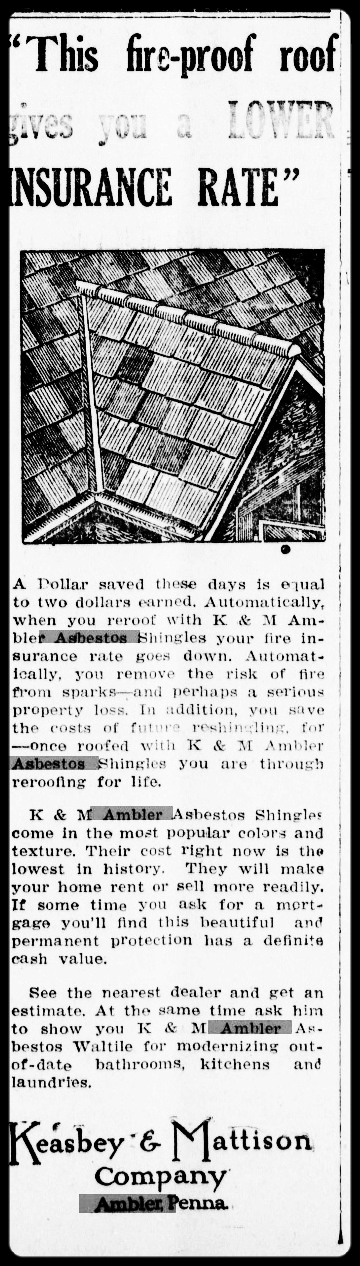 """""""This Fire-Proof Roof Gives You a Lower Insurance Rate,"""" advertisement, 1936.    Ambler Gazette,          June 25, 1936. Historical Society of Montgomery County."""