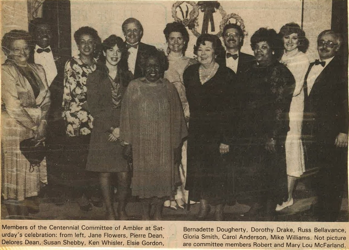 Ambler Centennial Committee, featuring REACH Ambler interviewees Gioia Smith, Bernadette Dougherty, and others, 1988.    Ambler Gazette   ,1988. Courtesy of Gioia Smith.