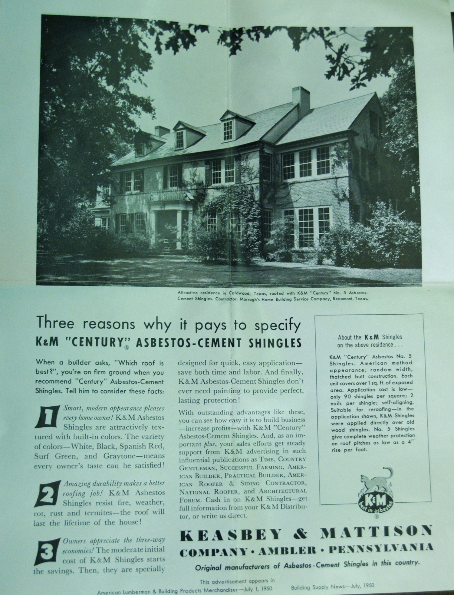 Advertisement for Keasbey and Mattison asbestos shingles, 1950.    American Lumberman and Building ProductsMerchandiser   , July 1, 1950. Wissahickon Valley Historical Society.