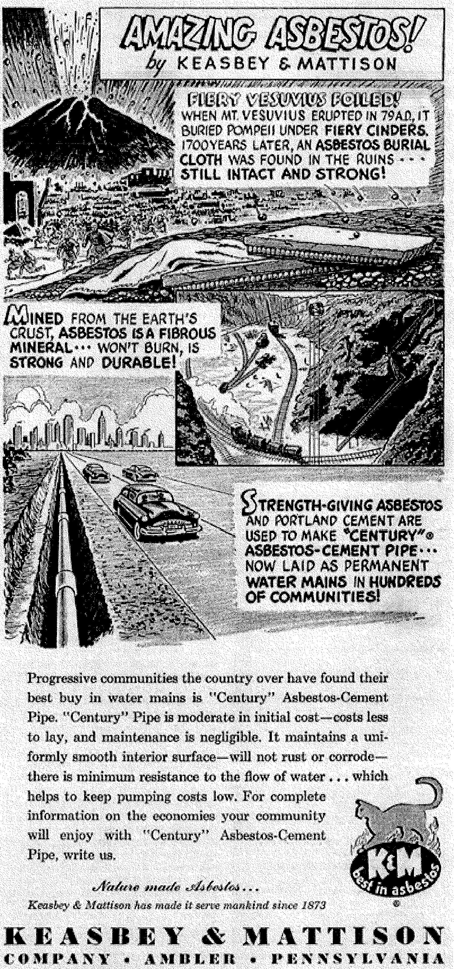 """""""Amazing Asbestos!"""" advertisement, 1951.   Time  Magazine, July 23, 1951. Courtesy of the Sarnoff Collection."""