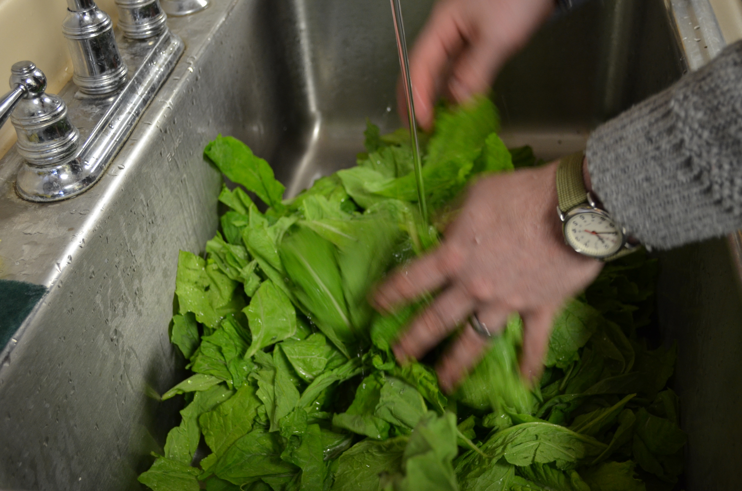 Jerome Sent So many greens, we had to use our biggest sink to wash them.