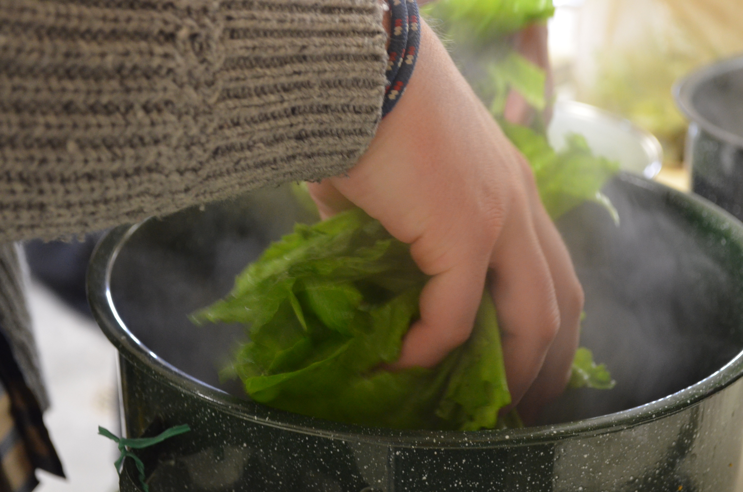 We use our special Green(s) pot to simmer our Greens