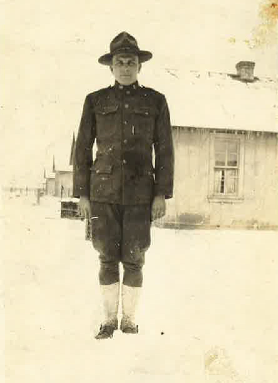 Burt in Winter 1918, at logging camp near Sandpoint, ID