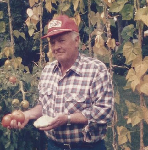 Phil Appleby in his garden, circa mid-1980s