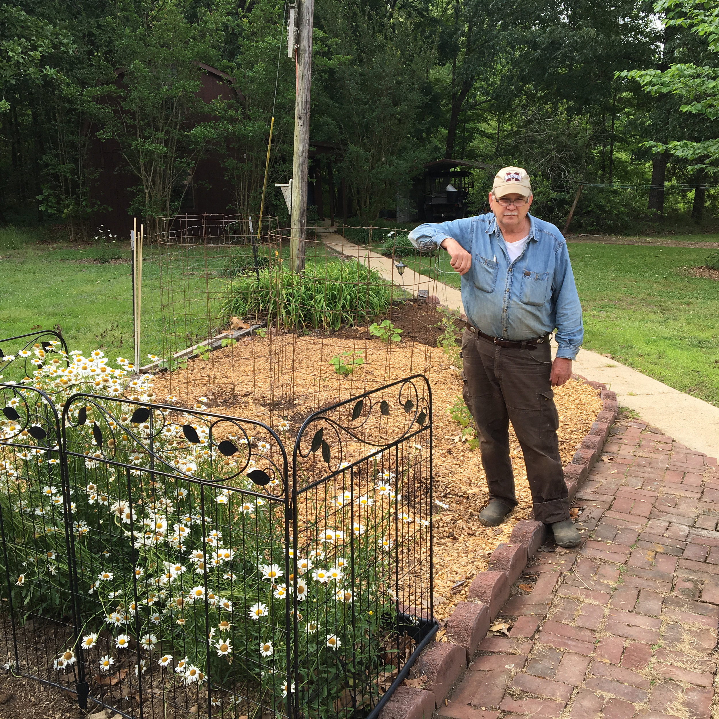 John Simmons poses in his garden after planting the 'Grandma George' bean that Seed Savers Exchange repatriated to him this spring.