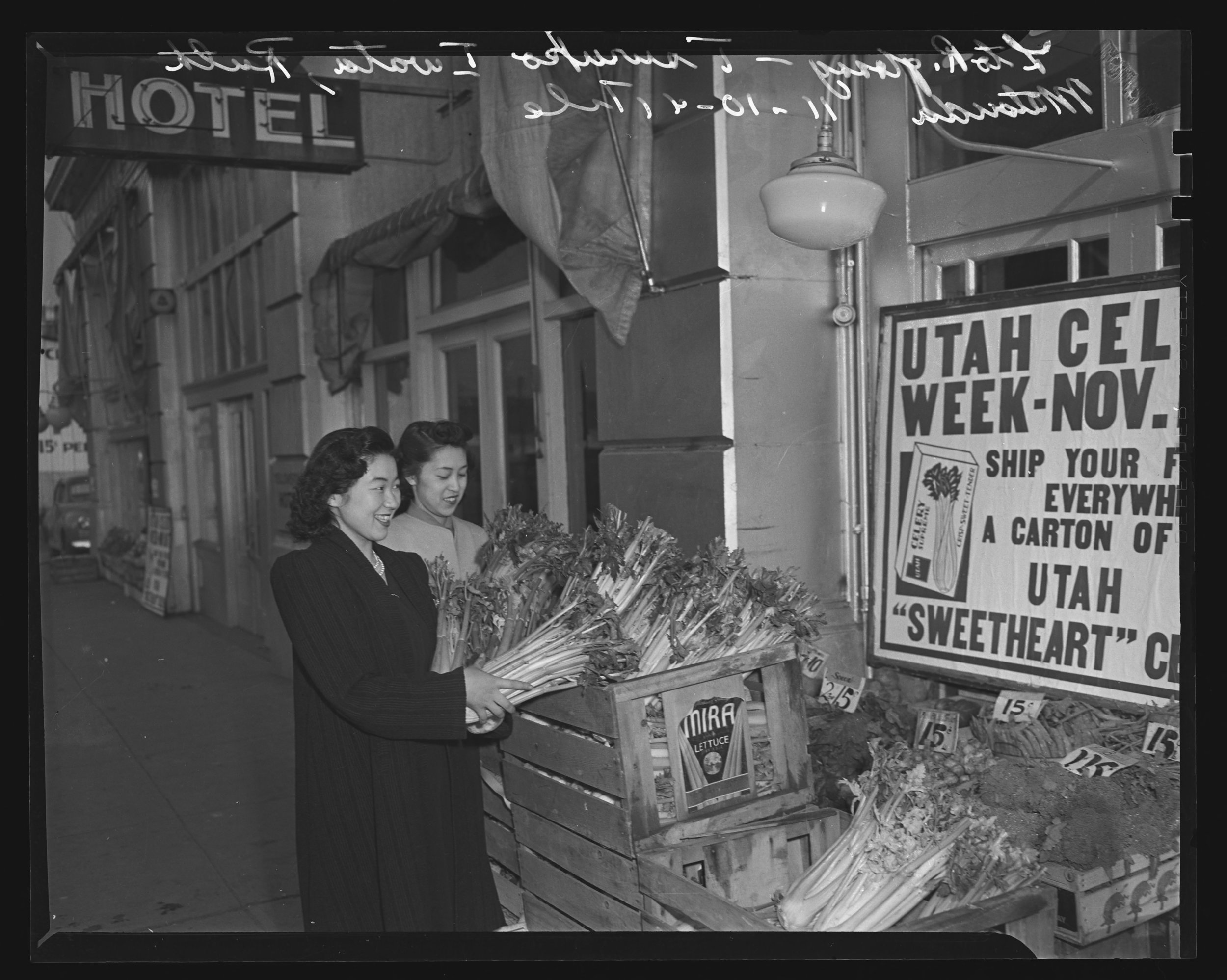 Shoppers Peruse Celery Stalks during Utah Celery Week in this photo published by the  Salt Lake Tribune  in the 1940s.