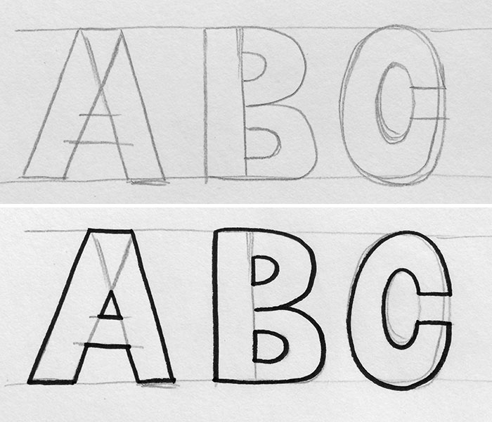 Block letters are built off of each other with similar pieces