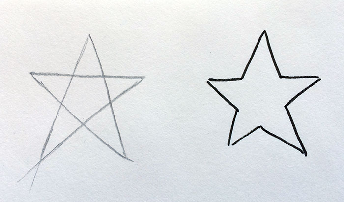 Block lettering tutorial - star example - construction lines make everything easier