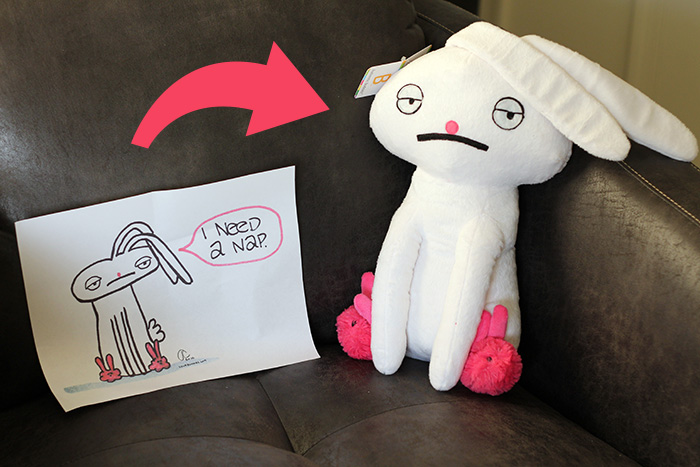 Budsies.com makes custom plush stuffed animals from your 2D drawings - Sour Bunnies on HelloBrio.com