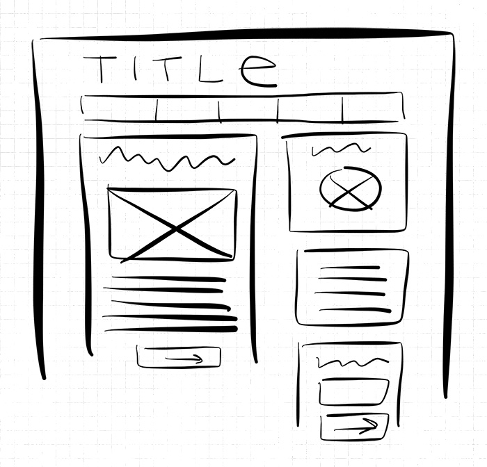 Blog design hand drawn wireframe with basic content elements - HelloBrio.com