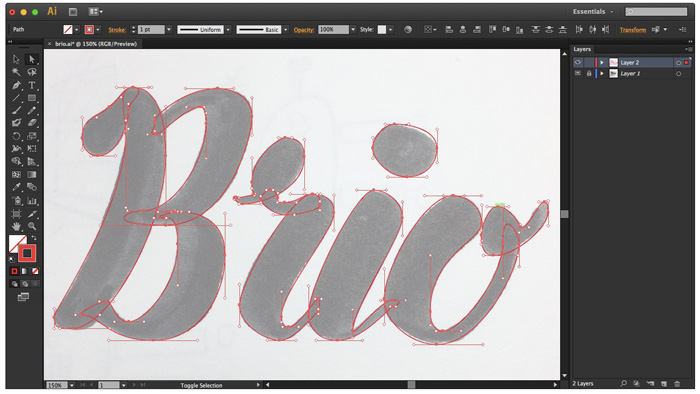 All letters traced using Pen Tool in Illustrator - HelloBrio.com