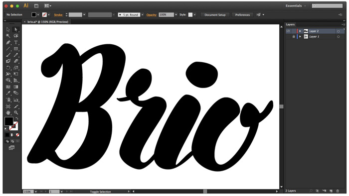Seeing your lettering in black and white allows you to see where you need to fix mistakes - Hand Lettering Tutorial on HelloBrio.com