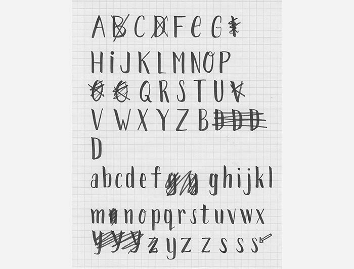 Paperweight font sketches and process