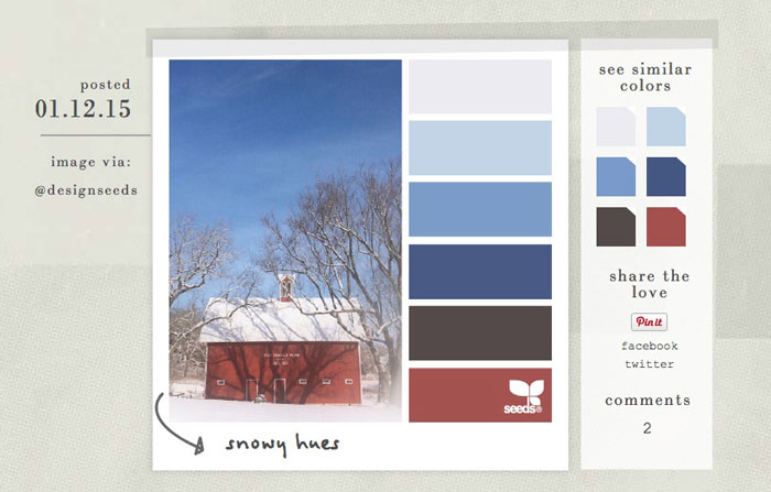 choose your colors with a color palette or design seeds
