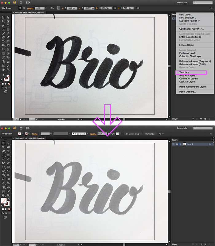 Set your drawing to Template mode so the layer locks and fades - Hand Lettering Tutorial in Illustrator on HelloBrio.com