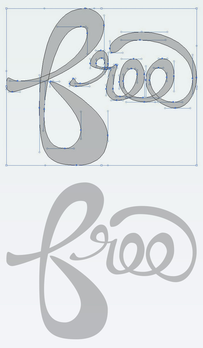 Minimal anchor points and horizontal and vertical handles only - How to digitize hand lettering with the Pen Tool in Illustrator - Tutorial on HelloBrio.com