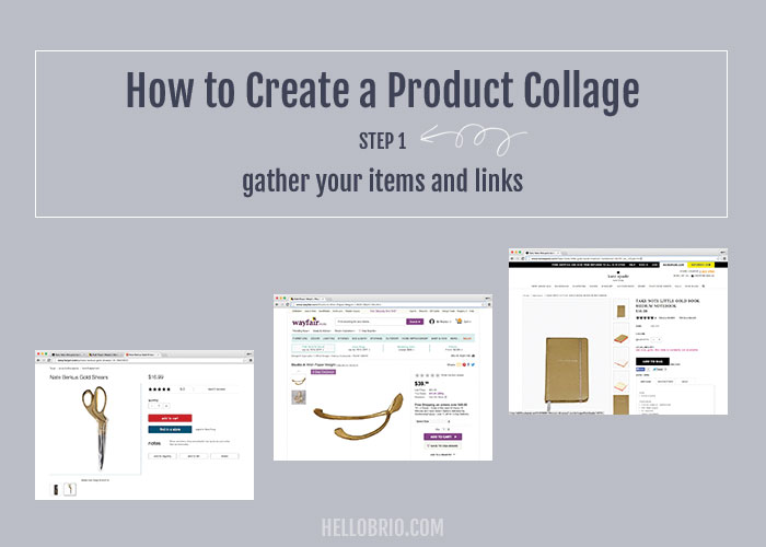 How to create your own product collage in Photoshop - Step 1: Gather products and links