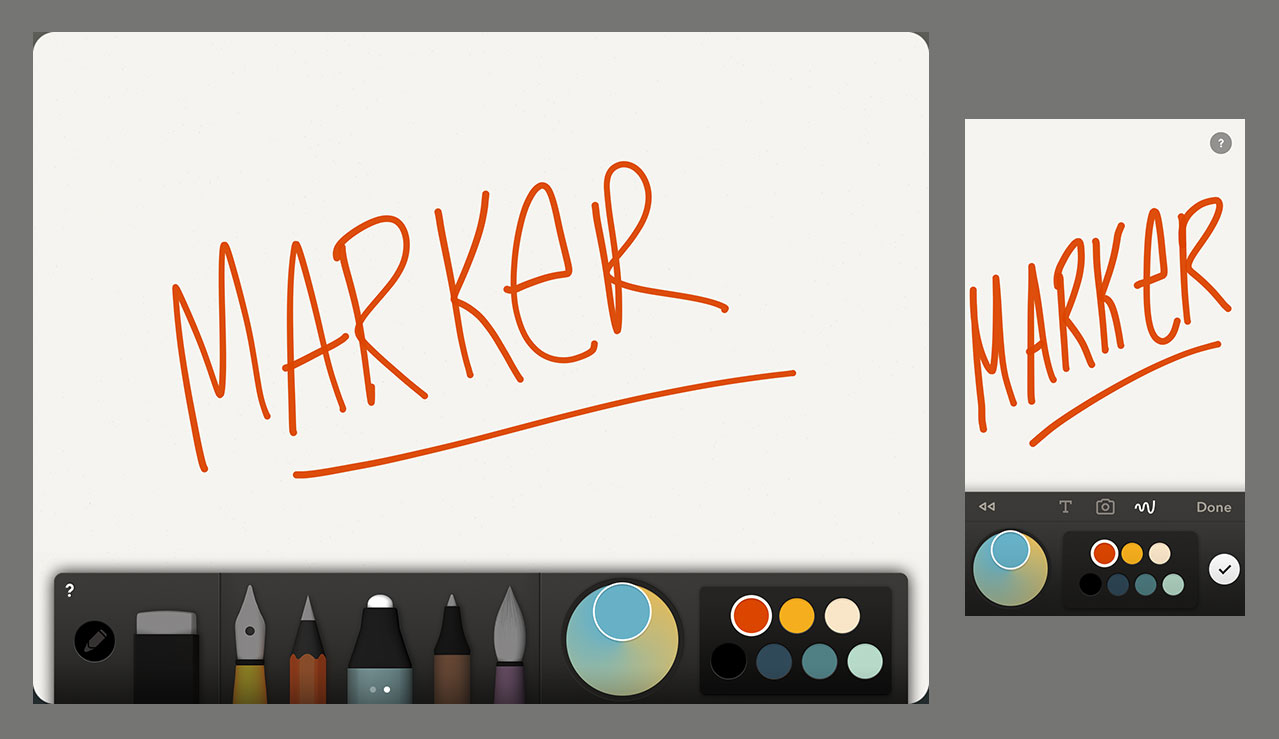 Marker tool for Paper is saturated and uni-width