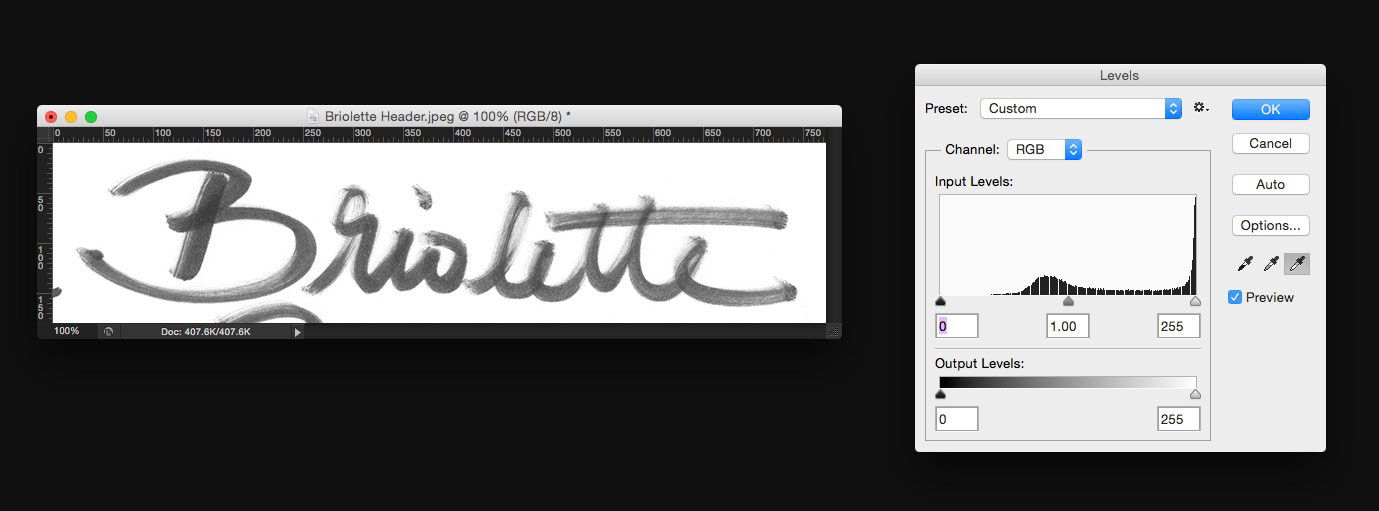 Learn how to create your own hand lettered blog header - Whiten your background