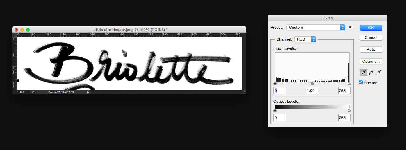 Learn how to create your own hand lettered blog header - Darken your text