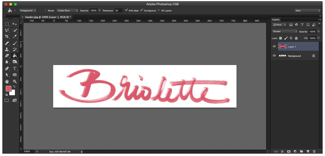 Learn how to create your own hand lettered blog header - Screen Blend Mode