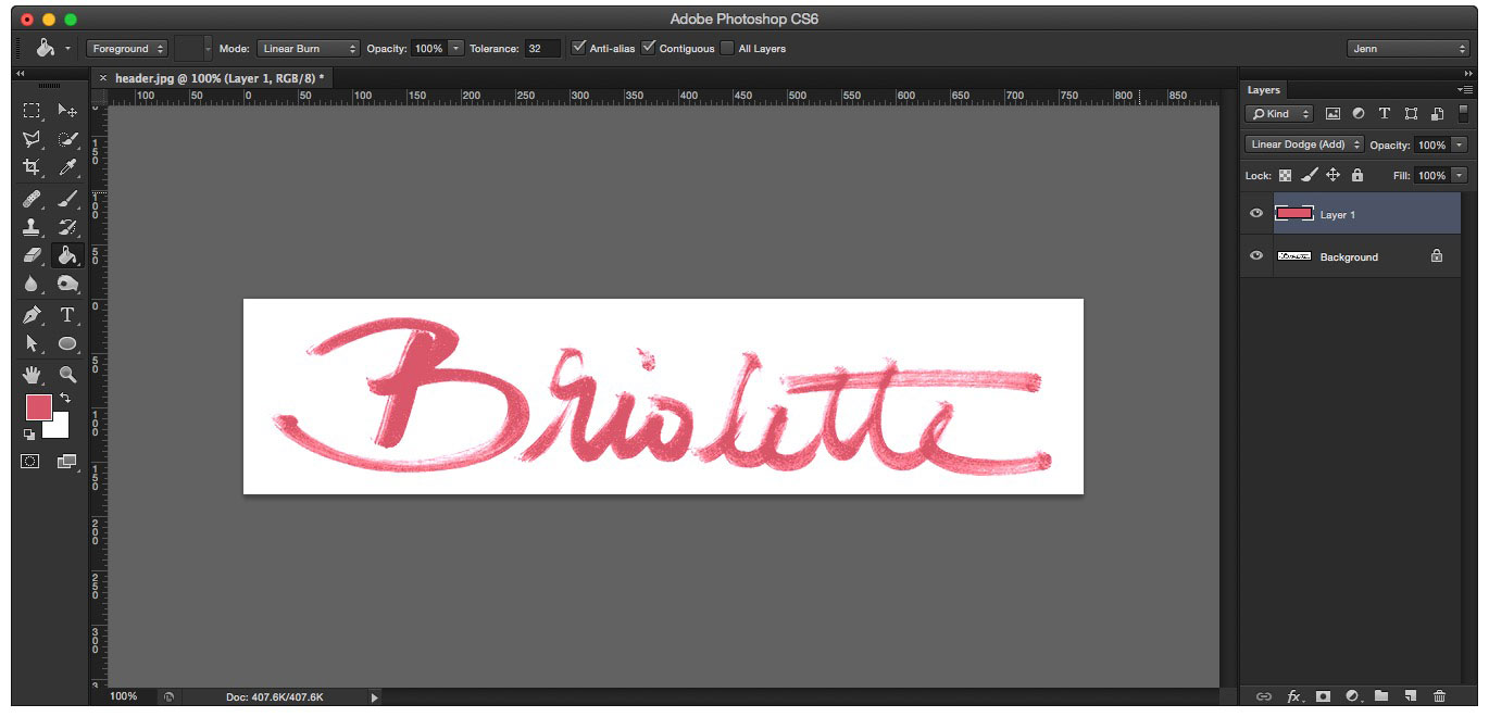 Learn how to create your own hand lettered blog header - Linear Dodge Blend Mode