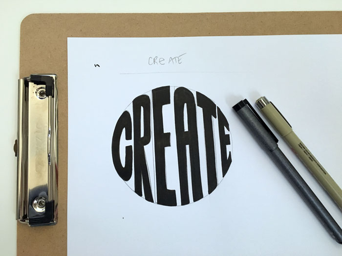 Carefully finish filling in your letters using  black inking pens  and  graphic pens .
