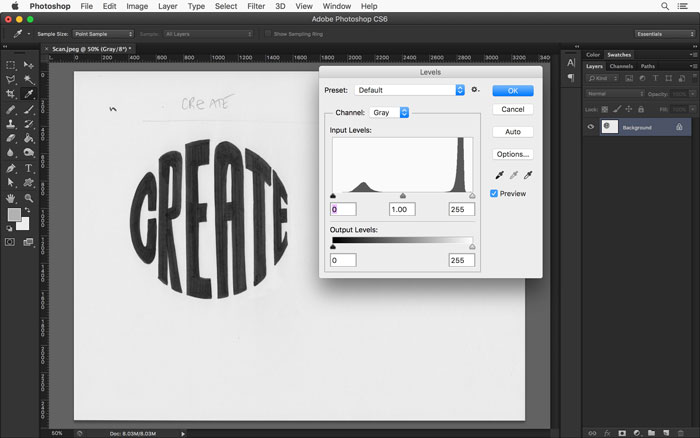 Adjust the levels of your scanned drawing in Photoshop using the Levels panel in Adobe Photoshop.