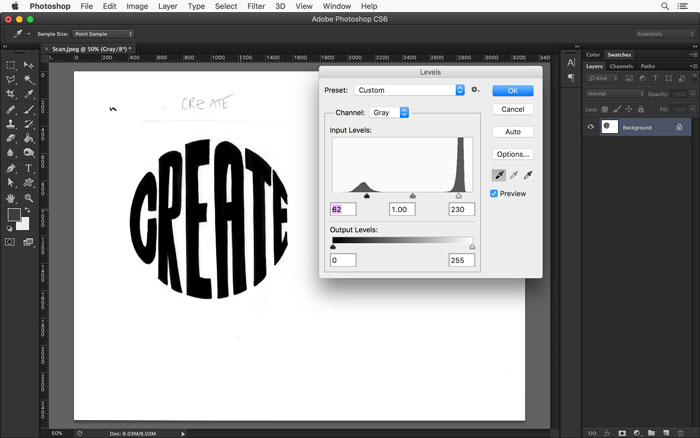 Use the white and black eye droppers in the Levels panel until your hand lettered art looks crisp black on a bright white background.