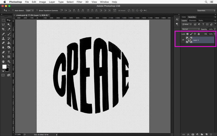 Your hand lettered art is now isolated on a transparent background.