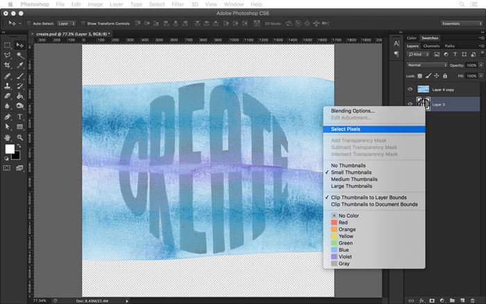 Select the pixels of your hand lettered art layer in Photoshop.