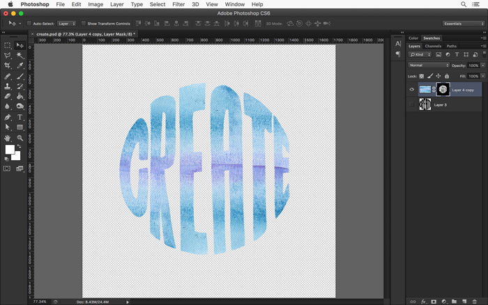 Use the Mask tool in Photoshop's Layers Panel to mask the edges of your watercolor texture.