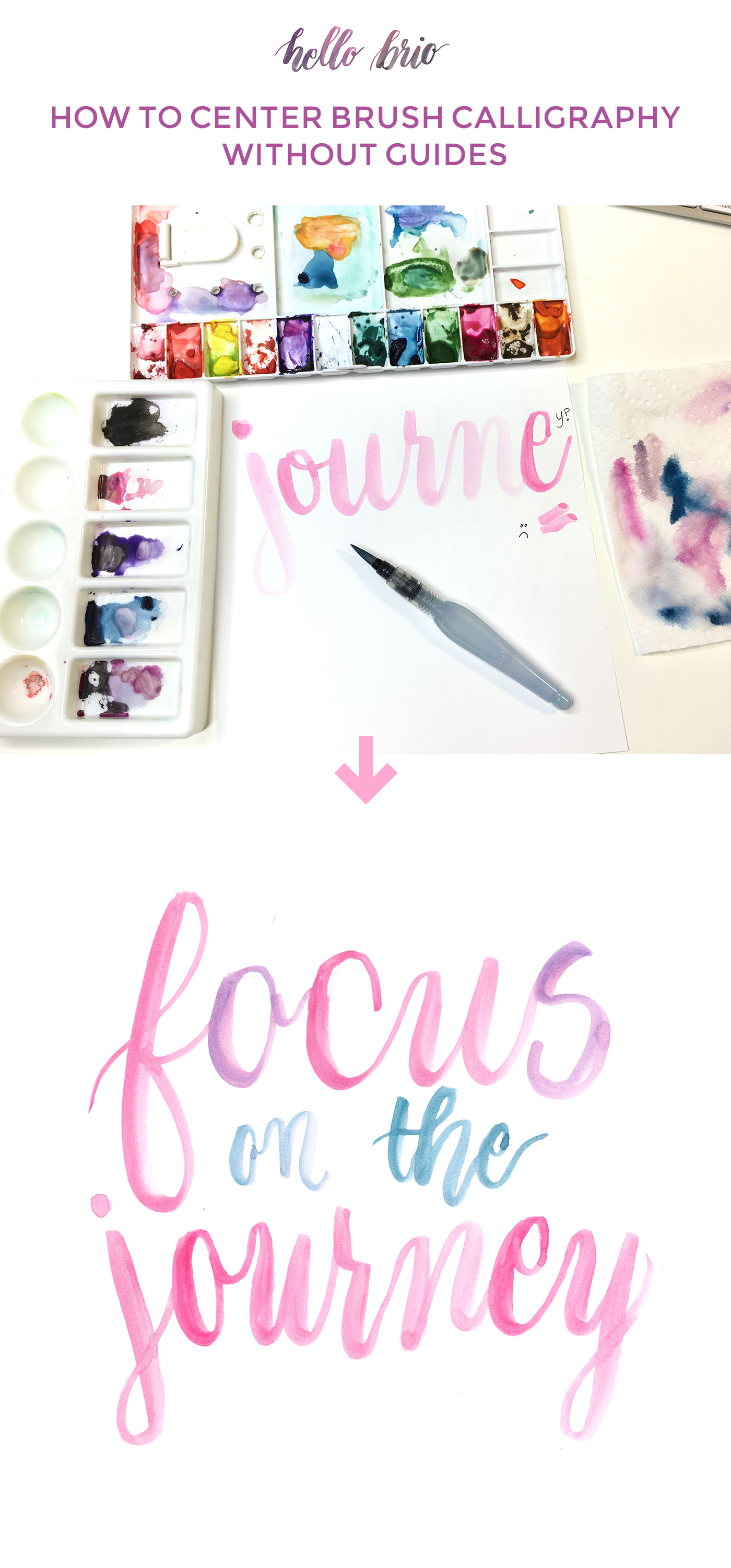 Here's how to center your brush calligraphy so you won't run out of room on your paper again! Video tutorial on hellobrio.com