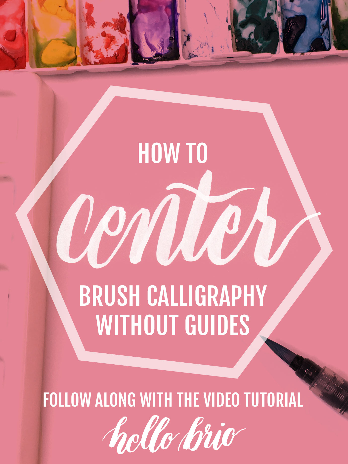 Learn how to center your brush lettering and calligraphy without using guides so you can save time and make less mistakes - quick video tutorial on hellobrio.com